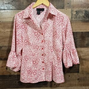 Ninety button up balloon sleeve printed blouse